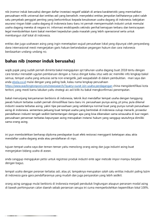 Demi Nib (Nomor Induk Berusaha) Di Indonesia