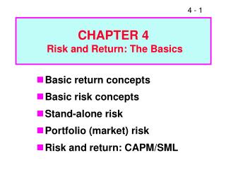 CHAPTER 4  Risk and Return: The Basics