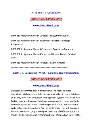 DBM 380 AID Introduction Education--dbm380aid.com