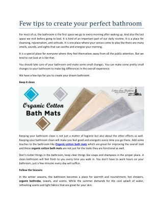 Few tips to create your perfect bathroom
