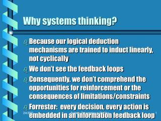 Why systems thinking?