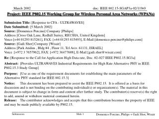 Project: IEEE P802.15 Working Group for Wireless Personal Area Networks (WPANs) Submission Title:  [ Response to CFA - U