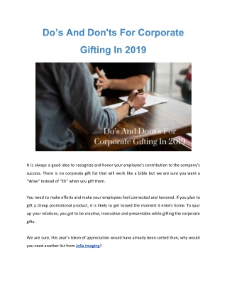 Do's And Dont's For Corporate Gifting In 2019