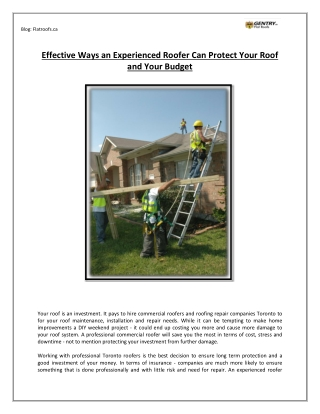 Effective Ways an Experienced Roofer Can Protect Your Roof and Your Budget