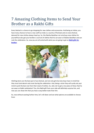 7 Clothing items To Send Your Brother as a Rakhi Gifts