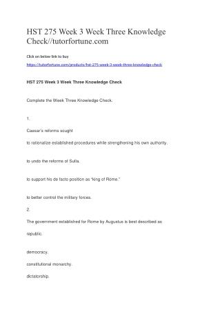 HST 275 Week 3 Week Three Knowledge Check//tutorfortune.com