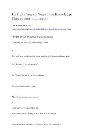 HST 275 Week 5 Week Five Knowledge Check//tutorfortune.com