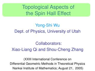 Topological Aspects of  the Spin Hall Effect