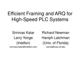Efficient Framing and ARQ for High-Speed PLC Systems