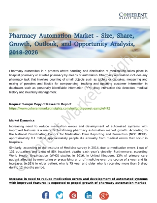 Pharmacy Automation Market Shows Expected Growth from 2018-2026