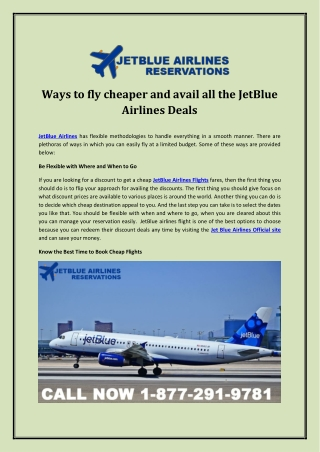 Ways to fly cheaper and avail all the JetBlue Airlines Deals