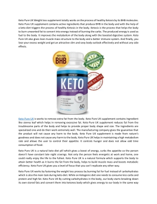 Keto Pure UK – 100% Natural Ingredients Pure Weight Loss Products