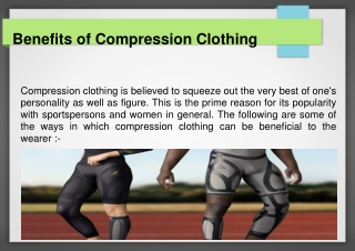 Benefits of compression clothing