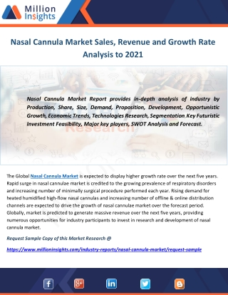 Nasal Cannula Market Sales, Revenue and Growth Rate Analysis to 2021