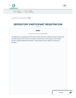 Functions of Depository Depository Participant Registration