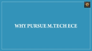 Why pursue M.Tech ECE?