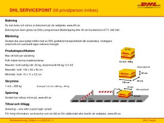 DHL SERVICEPOINT  (till privatperson inrikes)