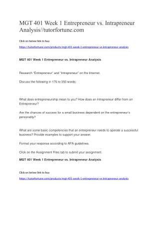 MGT 401 Week 1 Entrepreneur vs. Intrapreneur Analysis//tutorfortune.com