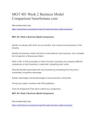 MGT 401 Week 2 Business Model Comparison//tutorfortune.com