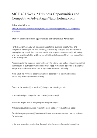 MGT 401 Week 2 Business Opportunities and Competitive Advantages//tutorfortune.com