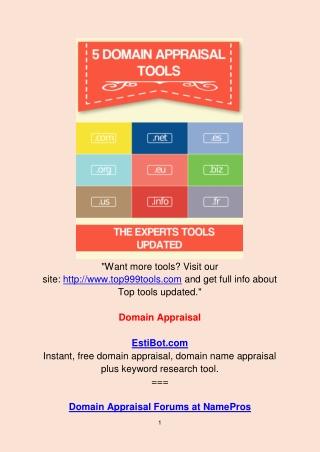 5 Domain Appraisal Tools