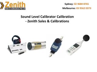 Sound Level Calibrator Calibration - Zenith Sales & Calibrations
