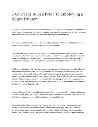 5 Concerns to Ask Prior To Employing a House Painter