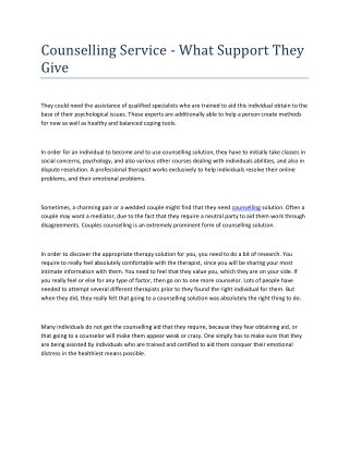 Counselling Service - What Support They Give