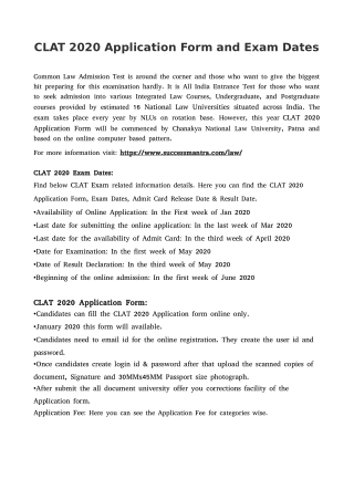 CLAT 2020 Application Form and Exam Dates