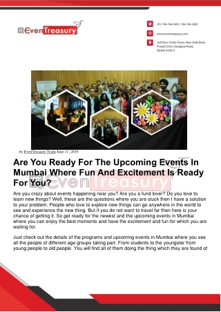 Are You Ready For The Upcoming Events In Mumbai Where Fun And Excitement Is Ready For You?