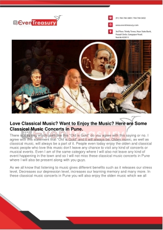 Love Classical Music? Want to Enjoy the Music? Here are Some Classical Music Concerts in Pune.
