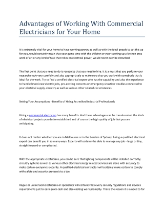 Advantages of Working With Commercial Electricians for Your Home