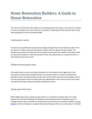Home Renovation Builders - A Guide to House Renovation