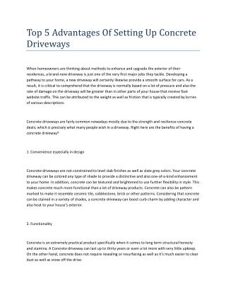 Top 5 Advantages Of Setting Up Concrete Driveways