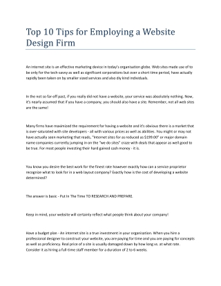 Top 10 Tips for Employing a Website Design Firm