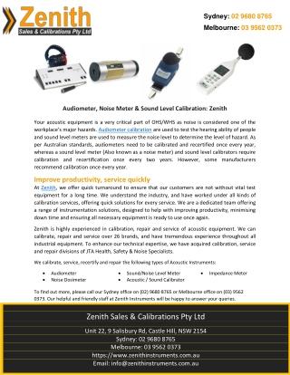 Audiometer, Noise Meter & Sound Level Calibration: Zenith