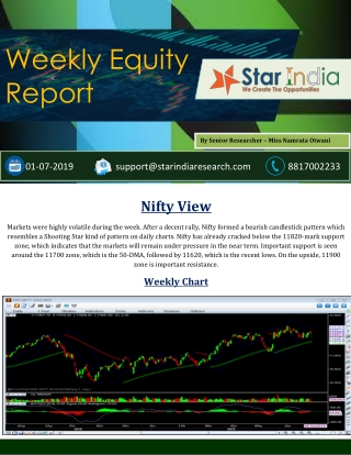 Equity Intraday Tips, Nifty Future Tips- Weekly Equity Report