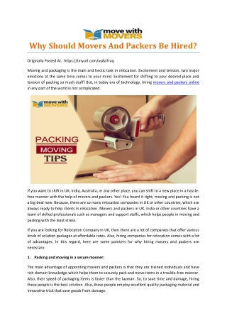 Why Should Movers And Packers Be Hired?