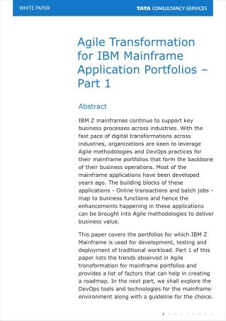Agile Transformation Case Study: IBM Mainframe Application Portfolios - TCS