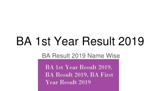 BA 1st Year Result 2019