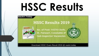 HSSC Results 2019 Exam Wise Cut off HSSC Results की ताज़ा ख़बर