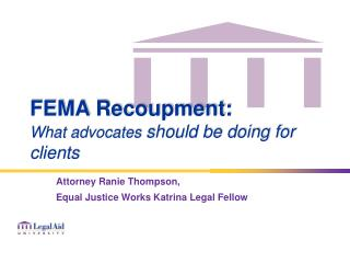 FEMA Recoupment: What advocates  should be doing for clients