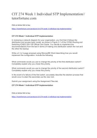 CIT 274 Week 1 Individual STP Implementation//tutorfortune.com