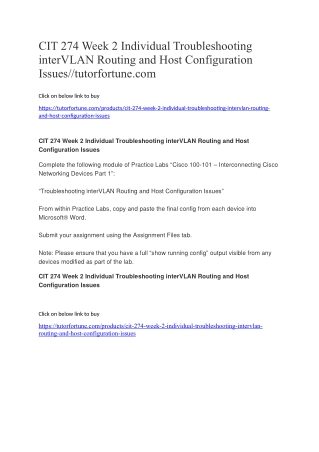 CIT 274 Week 2 Individual Troubleshooting interVLAN Routing and Host Configuration Issues//tutorfortune.com