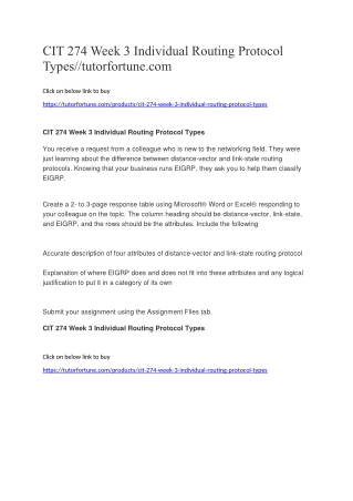 CIT 274 Week 3 Individual Routing Protocol Types//tutorfortune.com