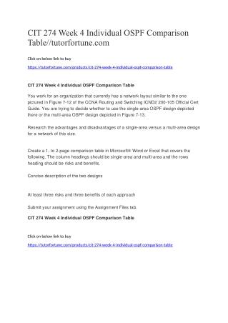 CIT 274 Week 4 Individual OSPF Comparison Table//tutorfortune.com