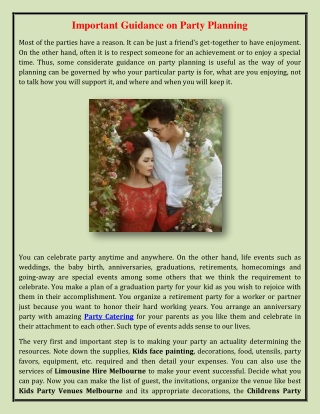 Important Guidance on Party Planning