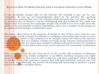 Exactly how To Make Online Life Coaching Certification