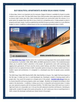 Buy beautiful apartments in New Delhi Awas Yojna
