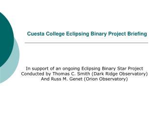 Cuesta College Eclipsing Binary Project Briefing